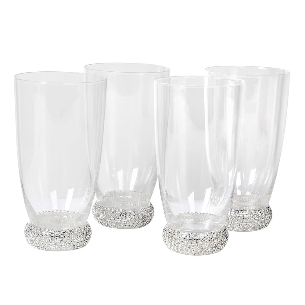 Set of 4 Silver Diamante Highball Glasses
