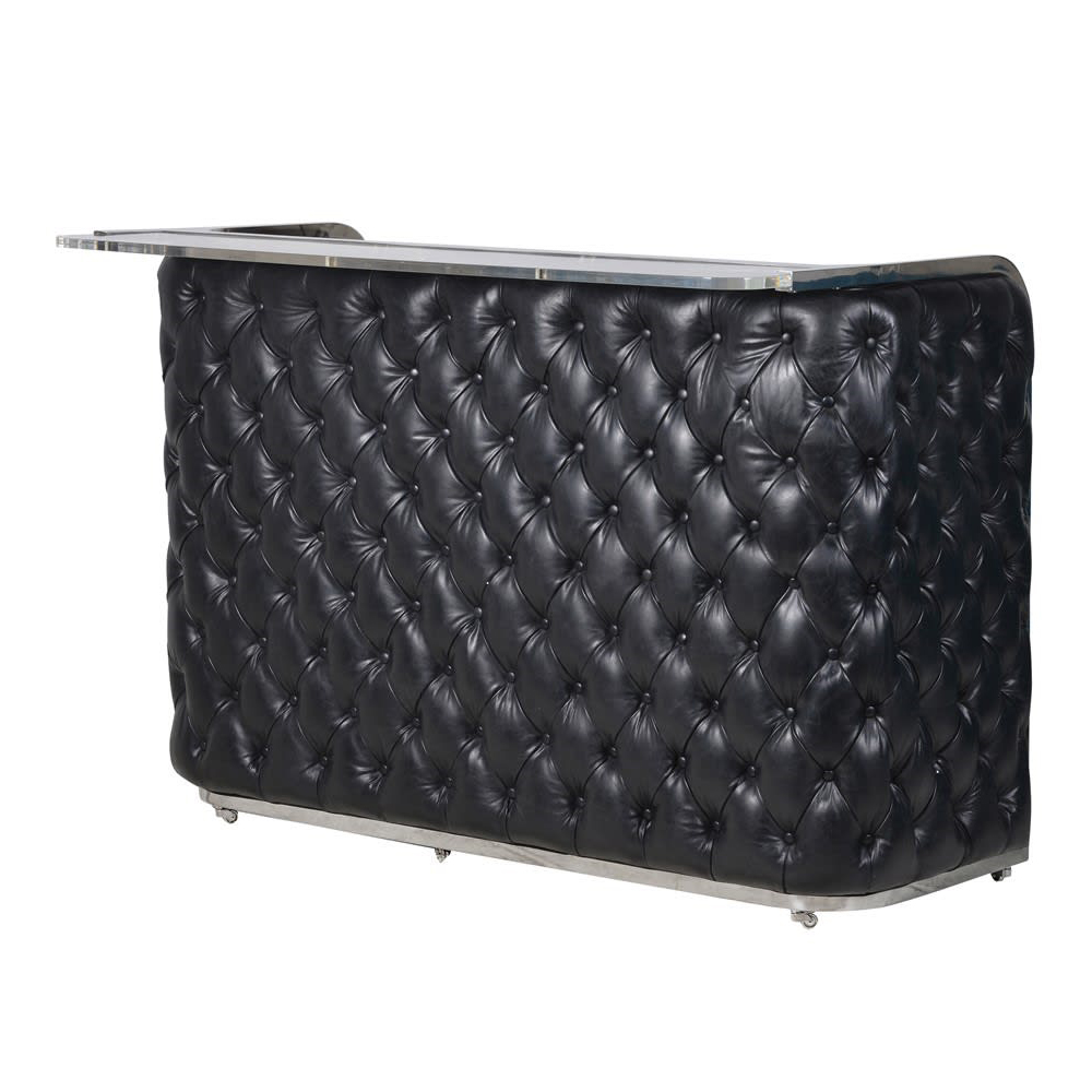 Black Leather Buttoned Bar