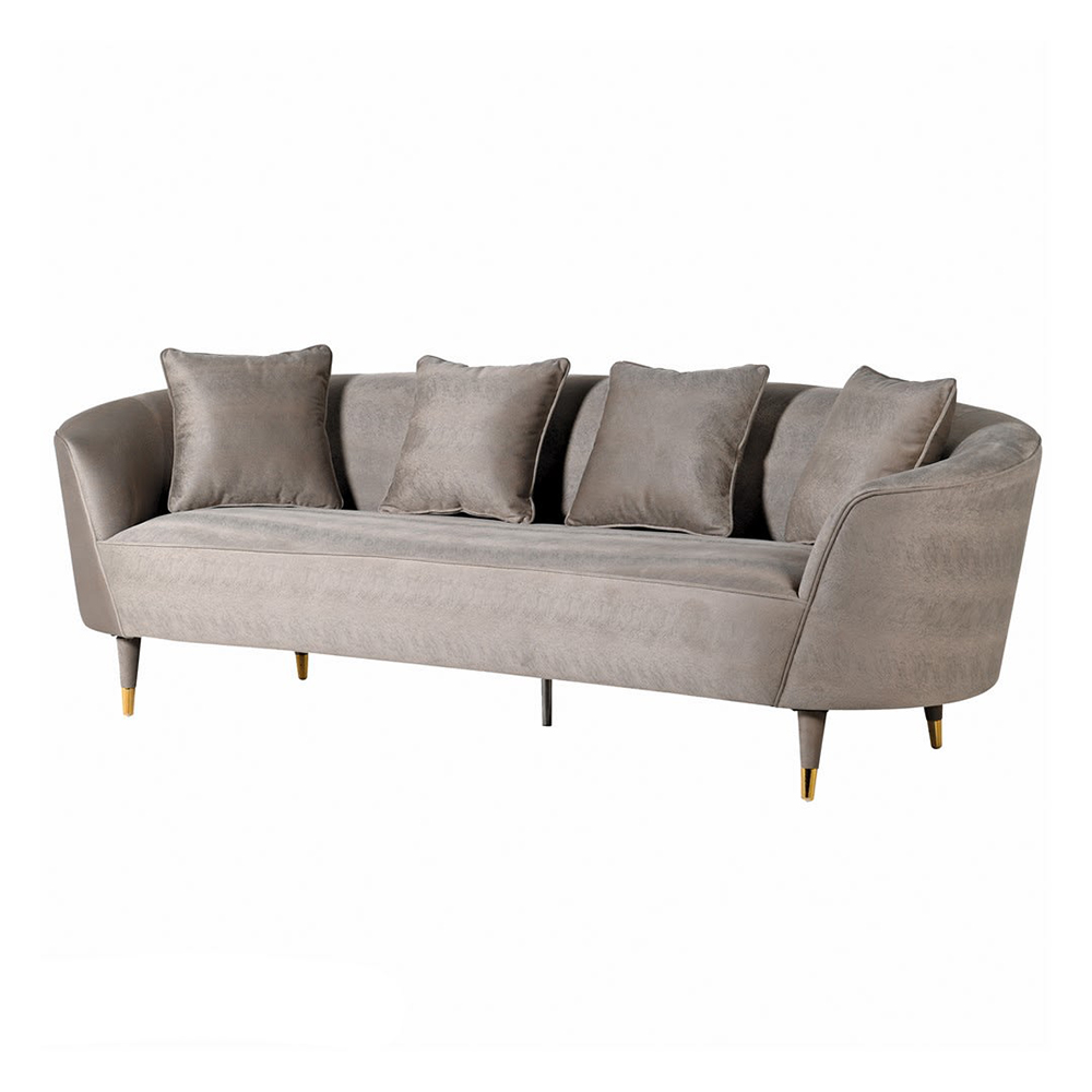 Mink Hide Print Curved 3 Seater Sofa