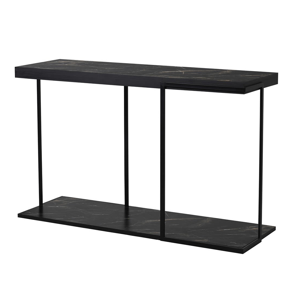 Faux Black Marble Console Table