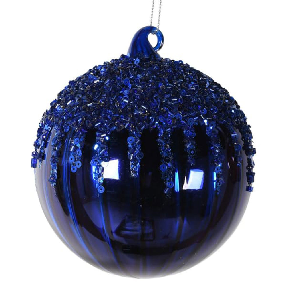 Large Blue Beaded Bauble