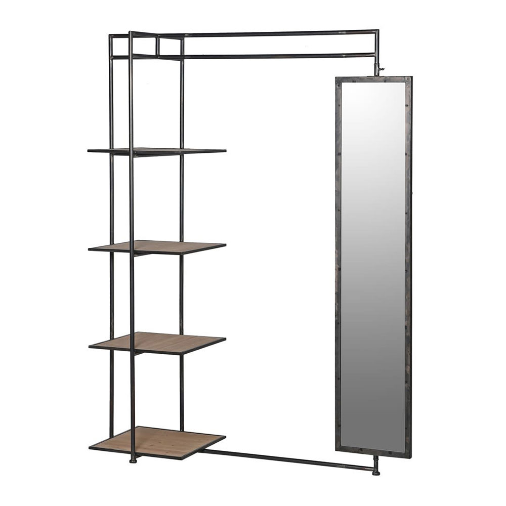 Metal Valet with Mirror and Shelves