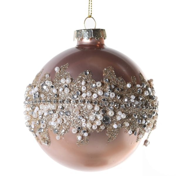 Small Pink Diamante Bauble