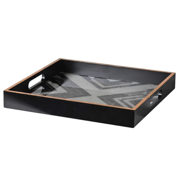 Black & White Square Marble Effect Tray