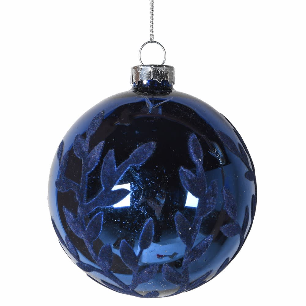 Blue Bauble with Flock Design